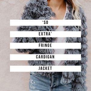 Grey Fringe Open Front Cardigan Jacket